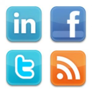 LInkedIn, Facebook, Twitter, and RSS icons