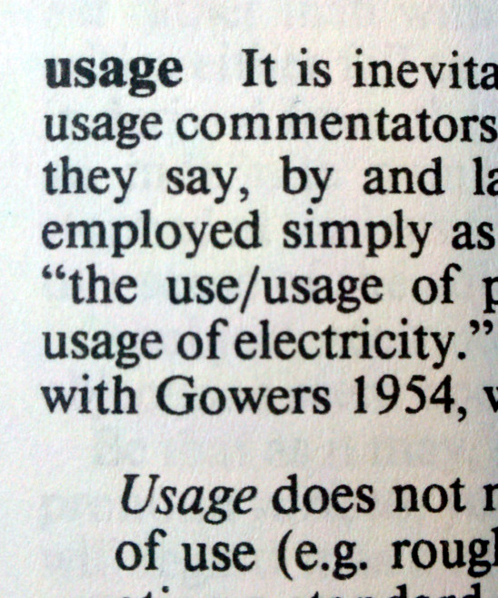 Definition of usage