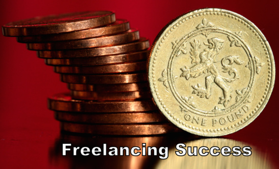 British pounds with text Freelancing Success
