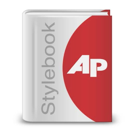 Upright gray and red book with Stylebook AP on the cover