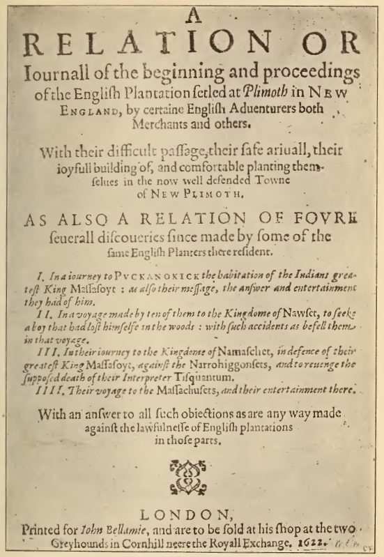 A Relation or Journal of Plimoth Plantation Title Page