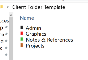 Screen shot of Windows folder called Client Folder Template with four folders within it