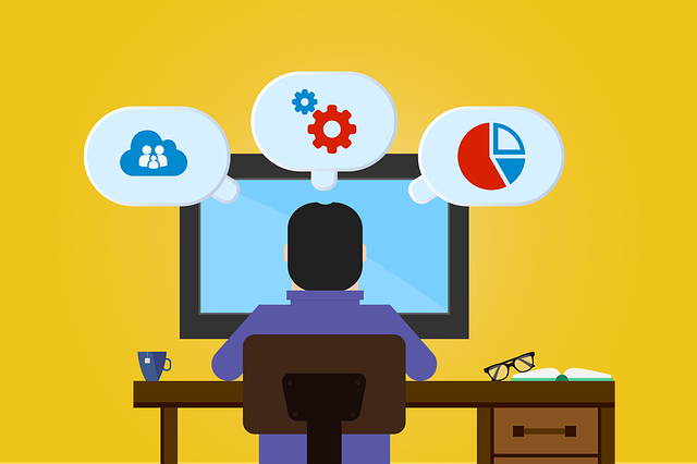 Illustration of black-haired person sitting at a computer monitor with thought bubbles with software icons in them
