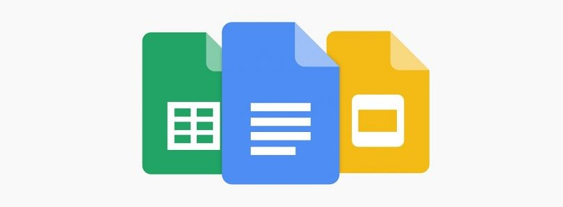 Google Docs icon on top of Google Sheets and Google Slides icons