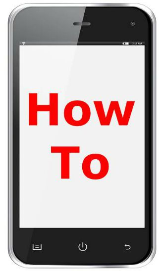 "Mobile phone screen with the words ""how to"" on it in red"