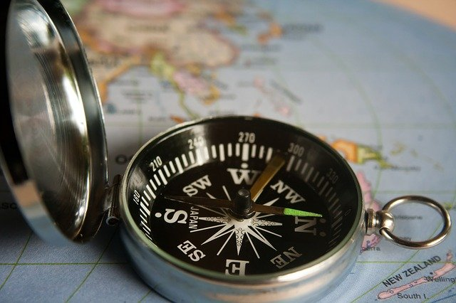 Color map with a silver and black magnetic compass on top; the compass points to north
