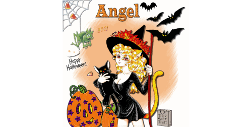 Witch with a tail; happy Halloween